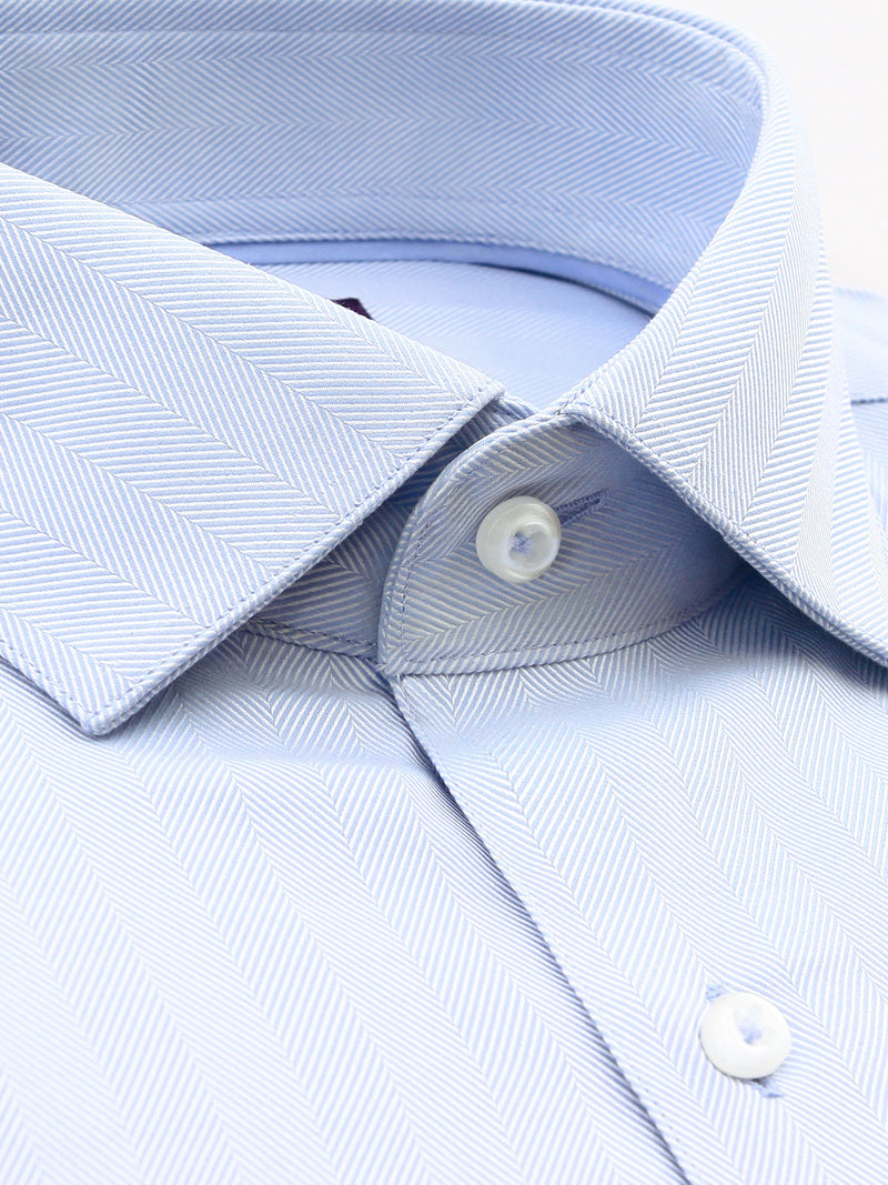 All Light Blue Textured Tailored Fit Oliver Luxury 2 Ply Cotton Shirt