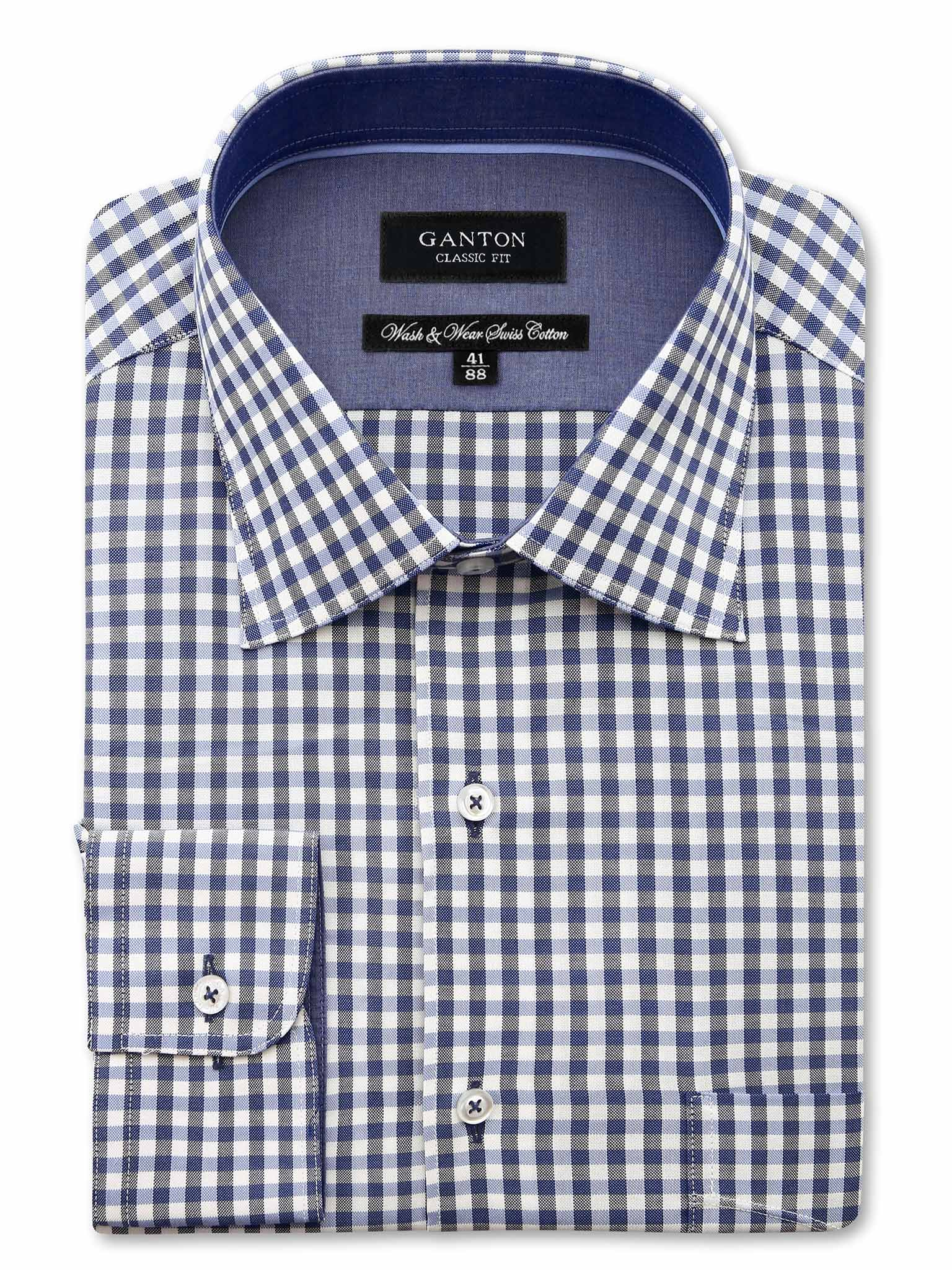 Navy Check Classic Fit Clayton Wash Wear Swiss Cotton Shirt