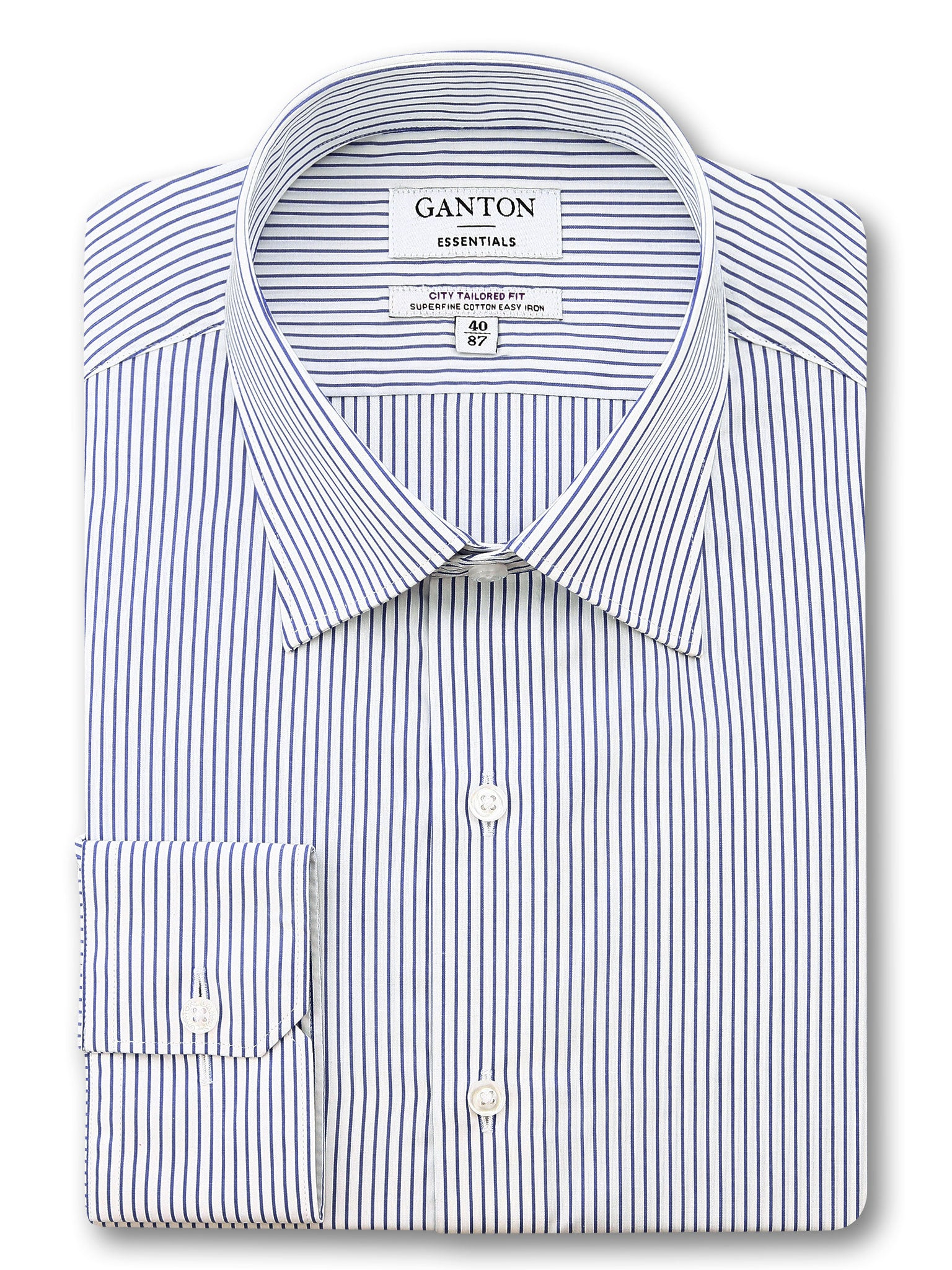 Navy White Stripe Tailored Fit Erickson Easy Iron Superfine Cotton Essentials Shirt