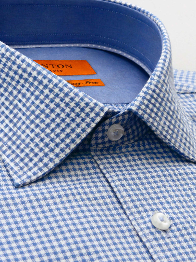Blue White Check Slim Fit Jonas Easy Iron Pure Cotton Shirt