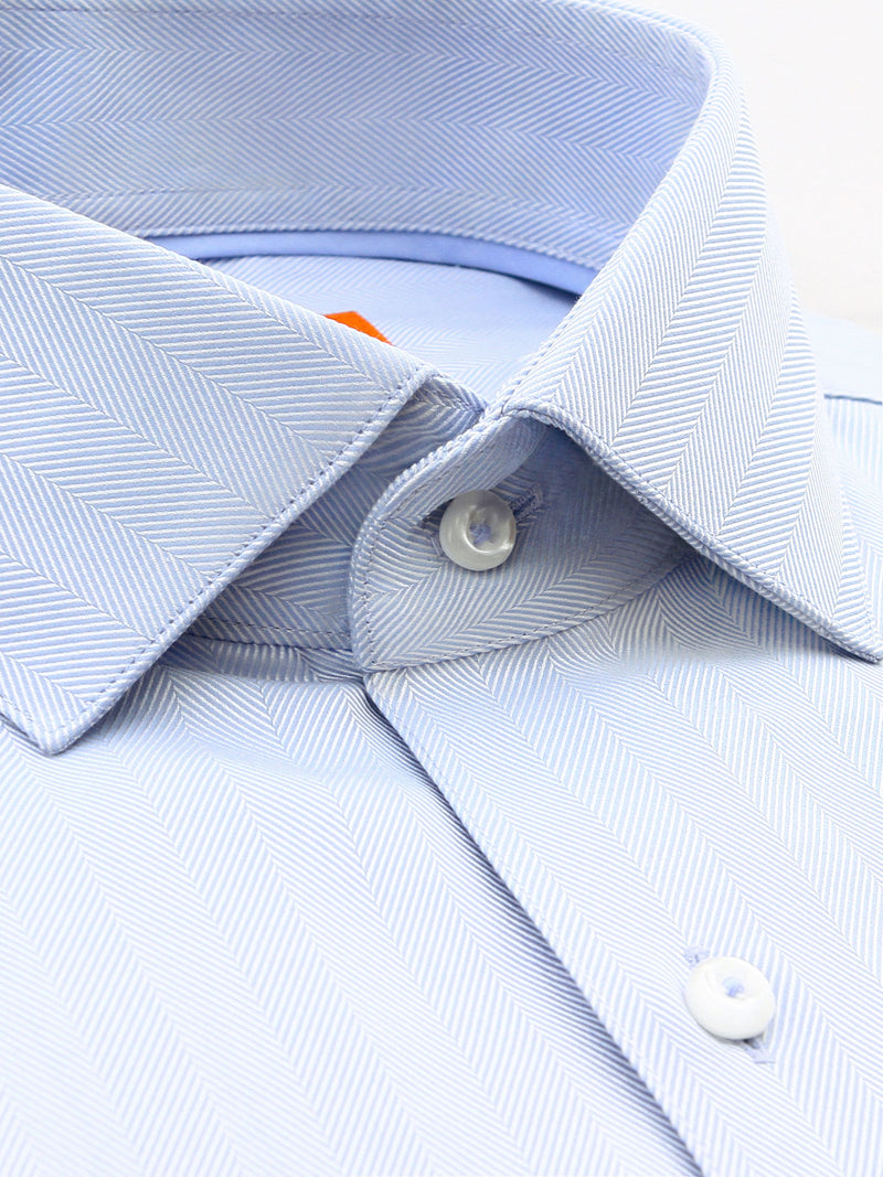 Light Blue Textured Slim Fit Bryson Luxury 2 Ply Cotton Shirt