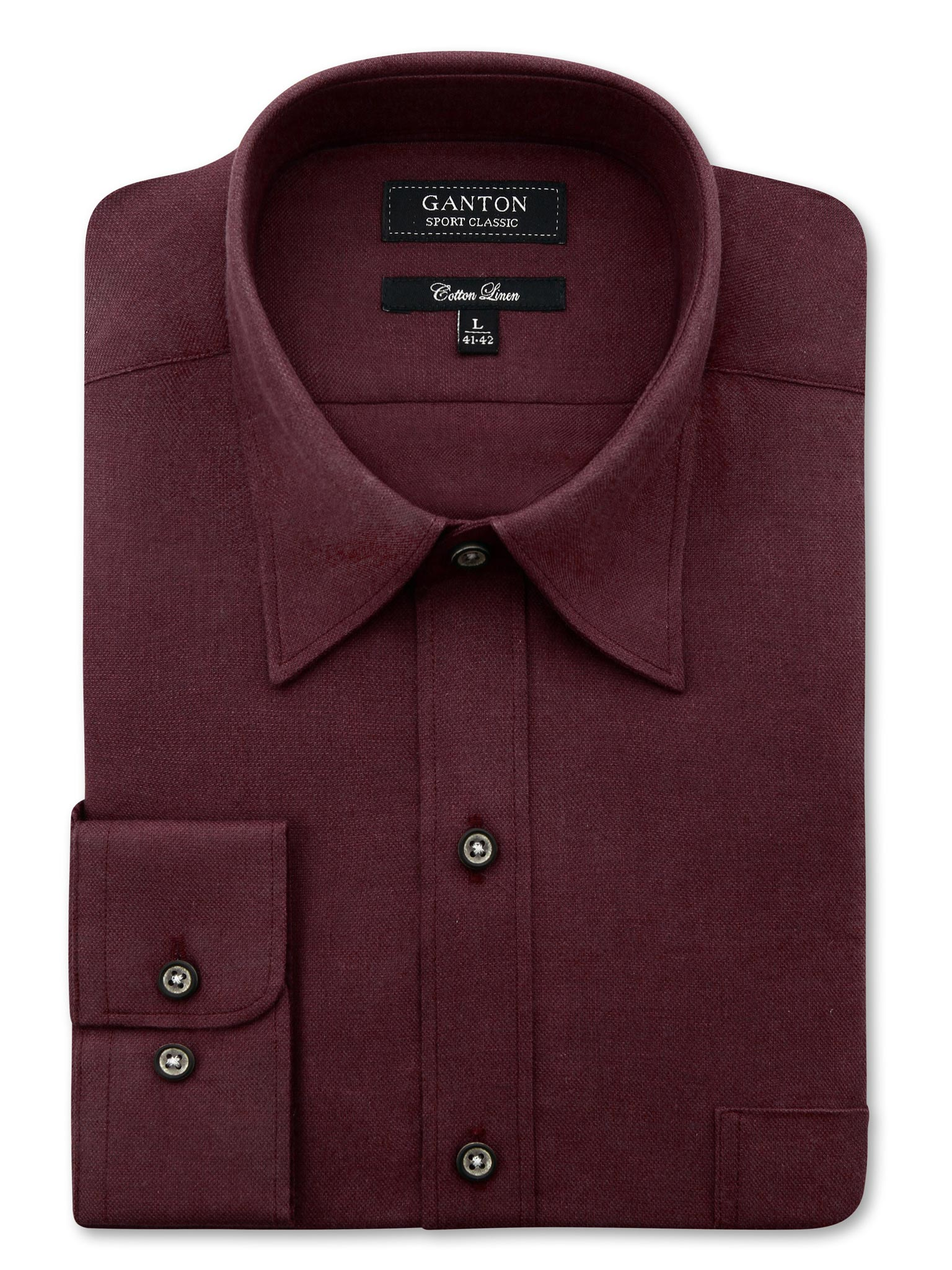 Red Textured Classic Fit John Cotton Linen Shirt