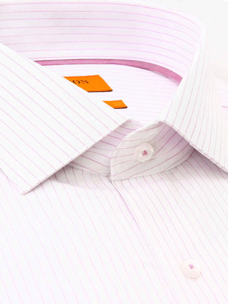 Light Pink White Stripe Slim Fit Forbes Cotton Polyester Shirt