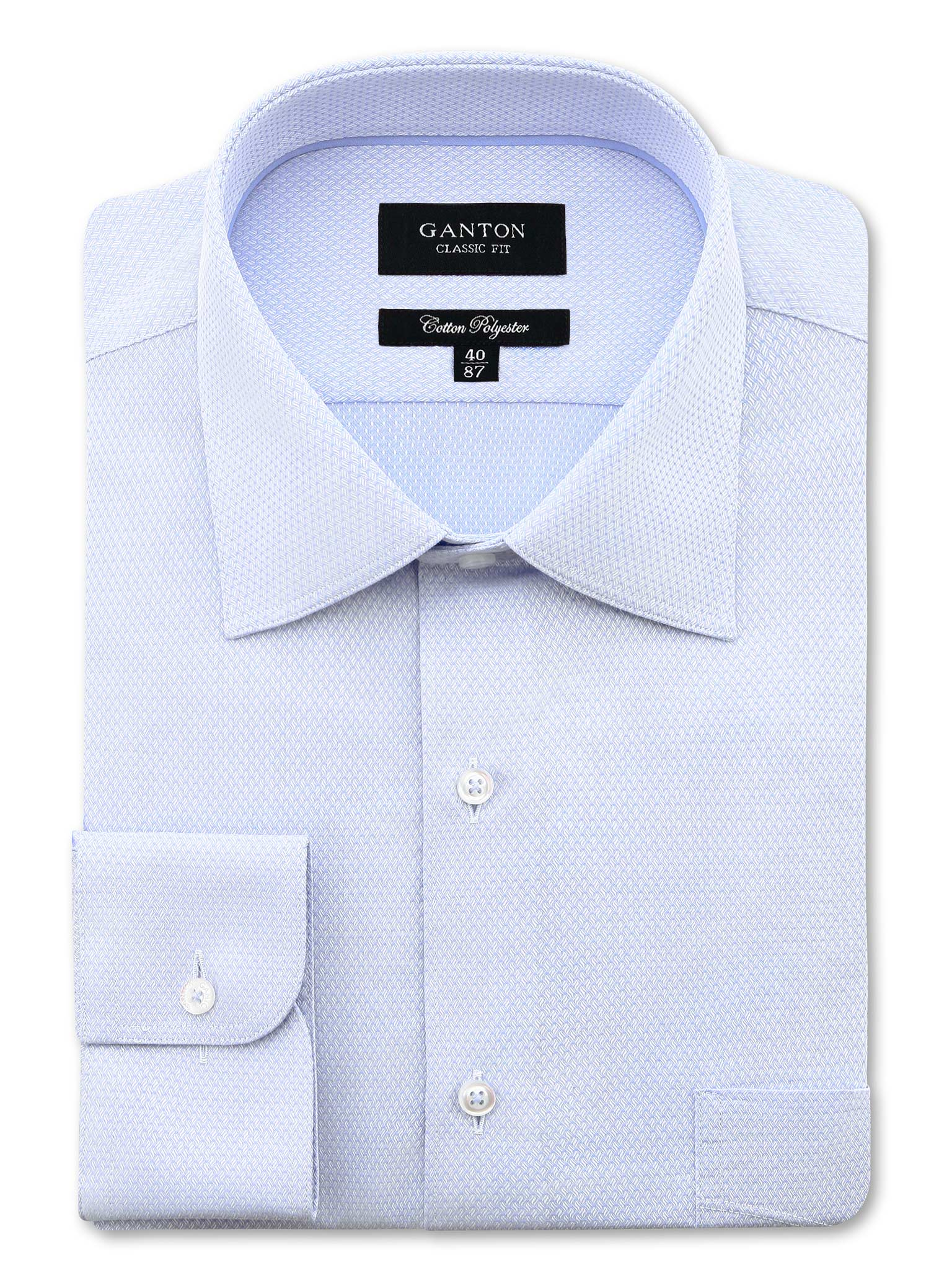 All Light Blue Textured Classic Fit Adam Cotton Polyester Easy Iron Shirt