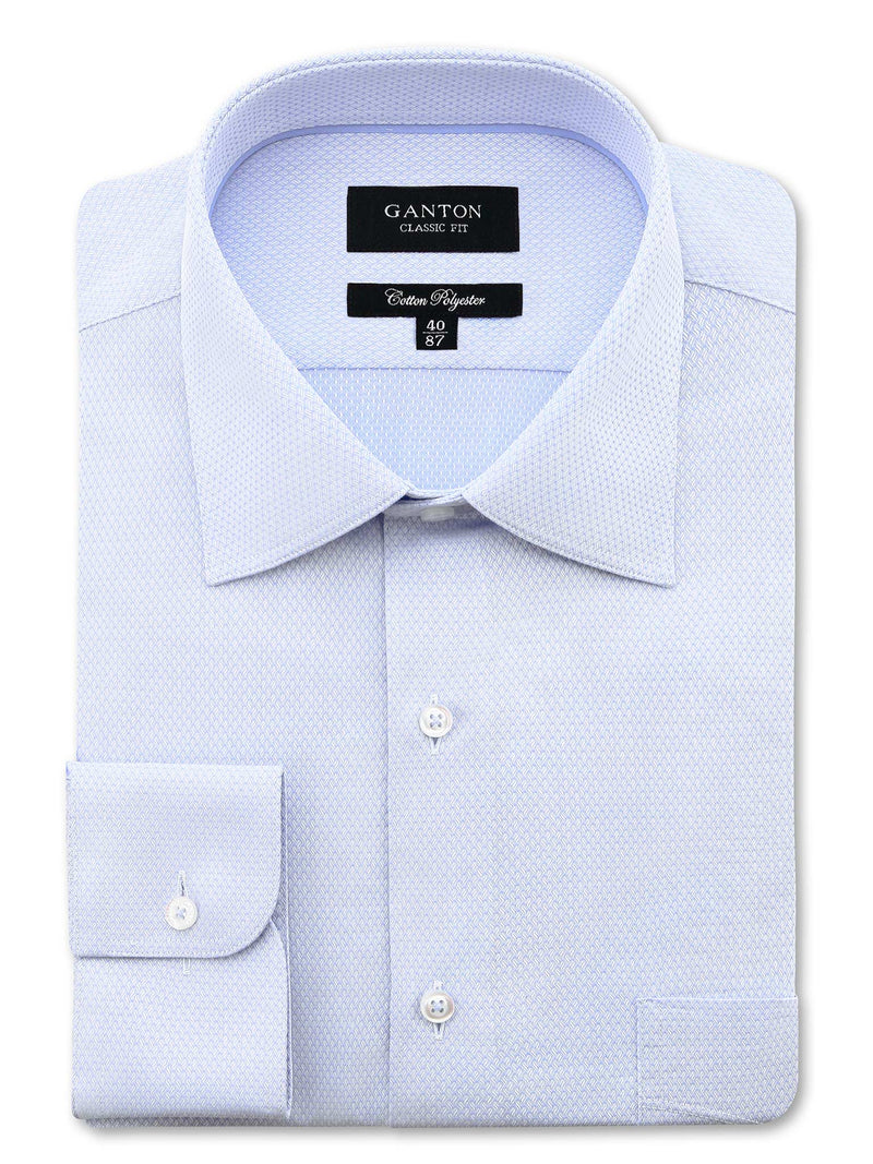 Light Blue Textured Classic Fit Adam Cotton Polyester Easy Iron Shirt