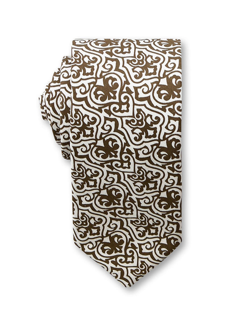 Brown Printed 7cm Alfred Cotton Tie Made in Australia