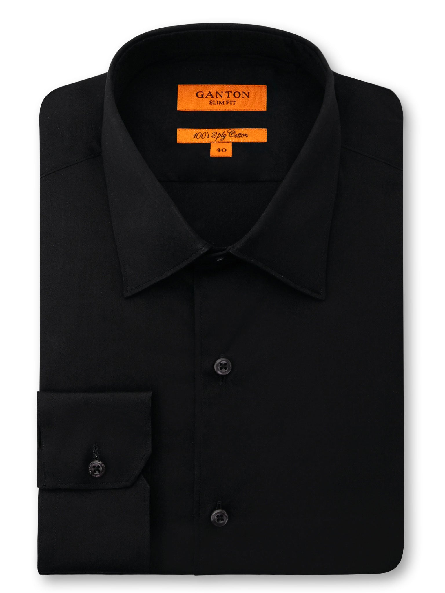 Black Plain Slim Fit Ethan 2 Ply Cotton Shirt