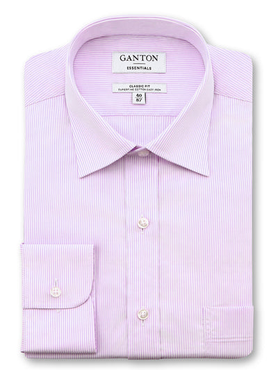 Pink White Stripe Classic Fit Elling Easy Iron Superfine Cotton Essentials Shirt