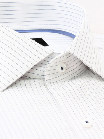 Navy White Stripe Classic Fit Lowry Cotton Polyester Shirt