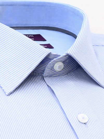 Blue White Stripe Tailored Fit Ben Bamboo Microfibre Shirt