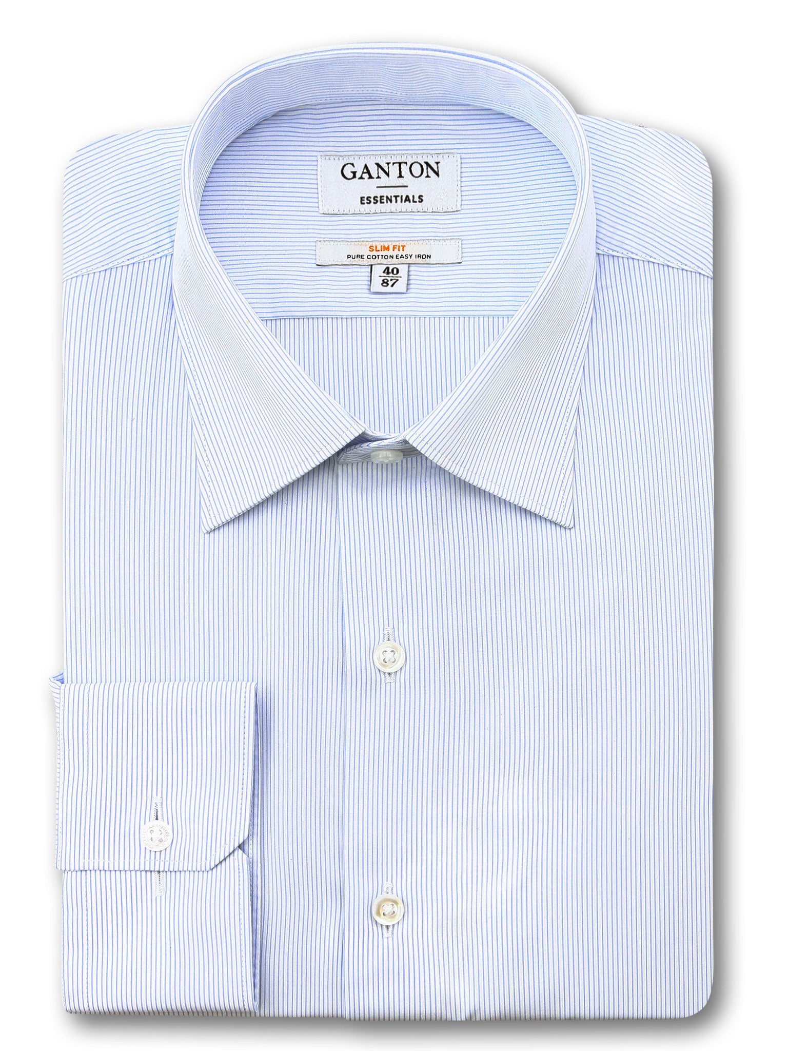 Light Blue Stripe Slim Fit Elvin Easy Iron Superfine Cotton Essentials Shirt