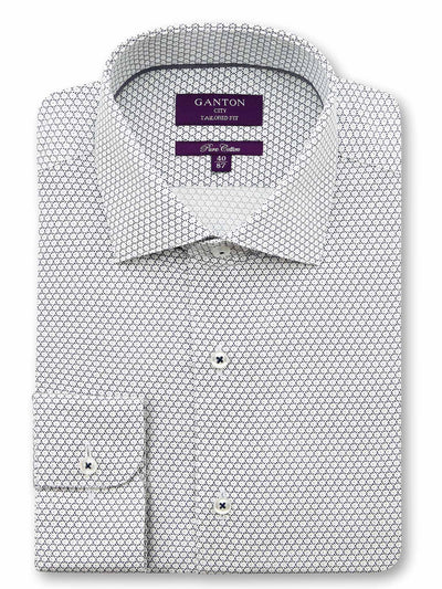 White Navy Print Tailored Fit Peter Pure Cotton Shirt