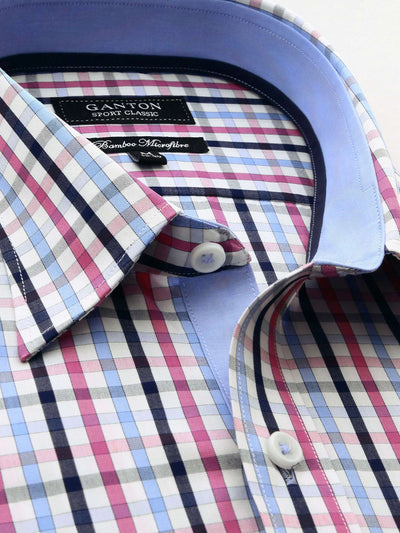 Pink Blue White Check Classic Fit Rhodes Bamboo Microfibre Shirt