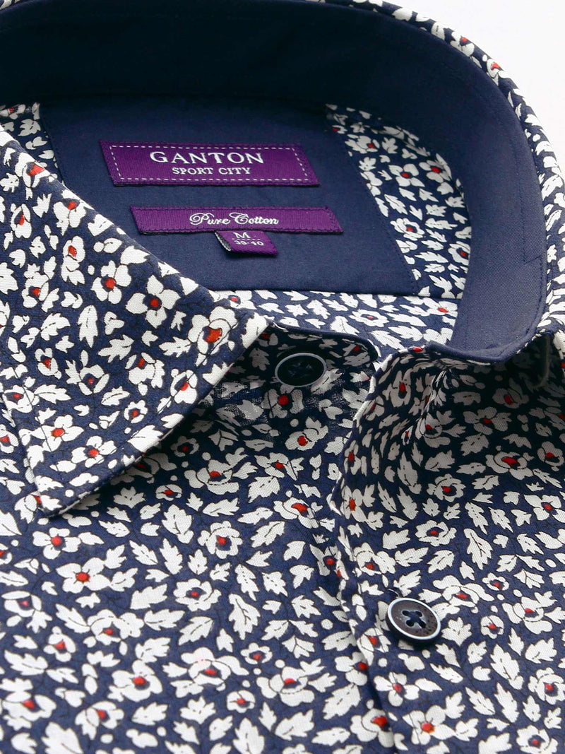 White Navy Floral Print Tailored Fit Gregory Pure Cotton Shirt