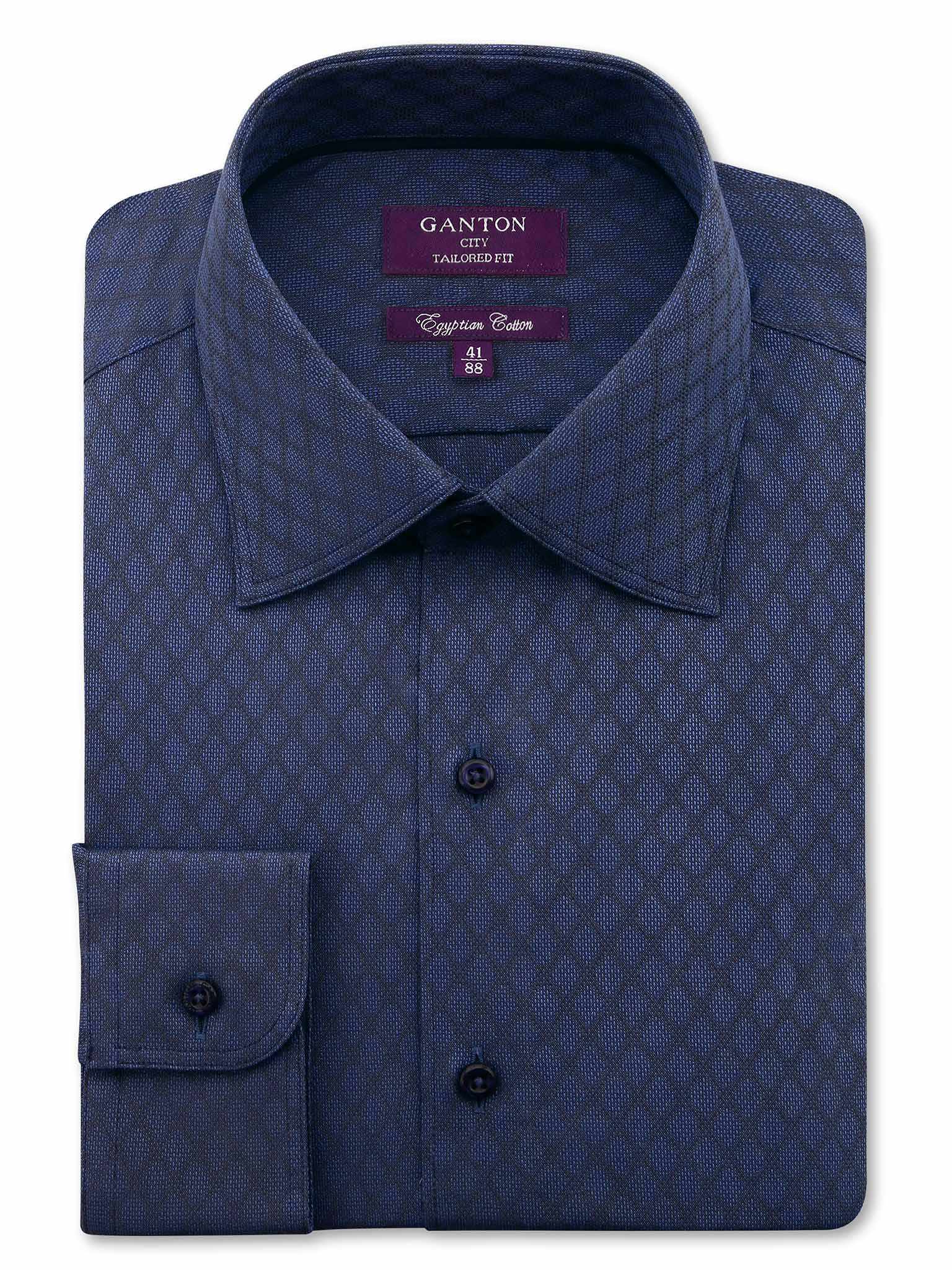 All Navy Tailored Fit Check Carson Egyptian Cotton Shirt