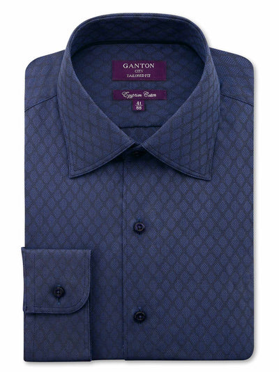 Navy Tailored Fit Check Carson Egyptian Cotton Shirt