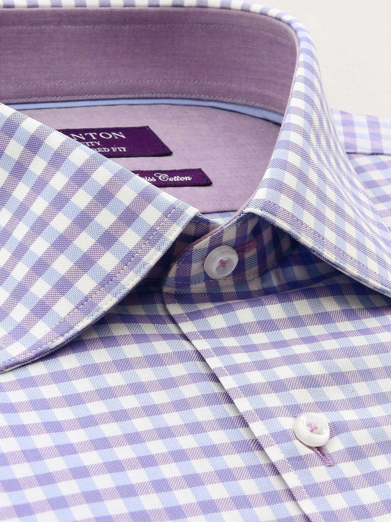Lilac Check Tailored Fit Charles Wash Wear Swiss Cotton Shirt