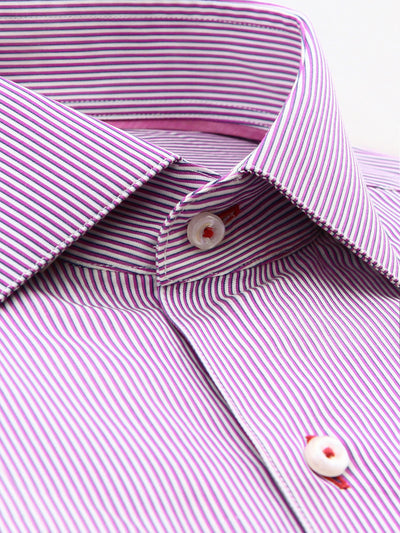 Purple Stripe Classic Fit Jefferson Wash Wear Swiss Cotton Shirt