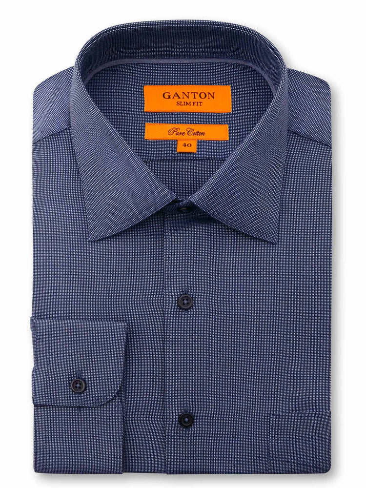 All Navy Check Textured Slim Fit Ivan Easy Iron Cotton Shirt