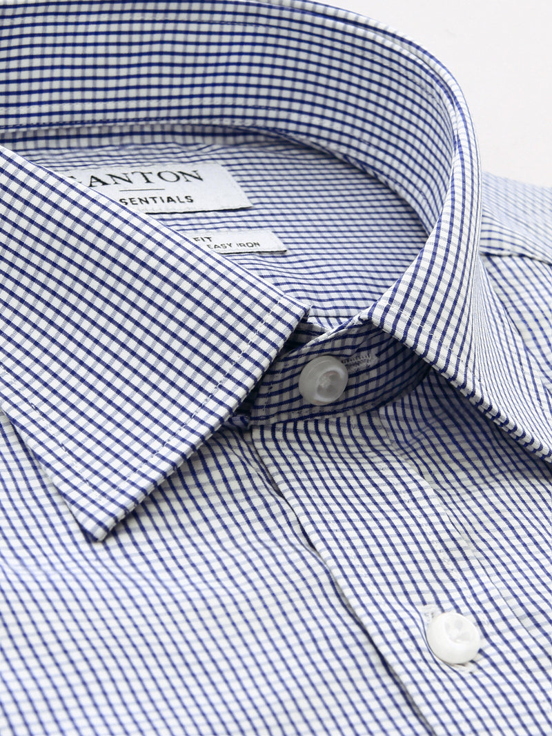 Navy White Check Classic Fit Easterbrook Easy Iron Superfine Cotton Essentials Shirt