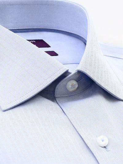 Light Blue Textured Tailored Fit Wayne Cotton Polyester Shirt