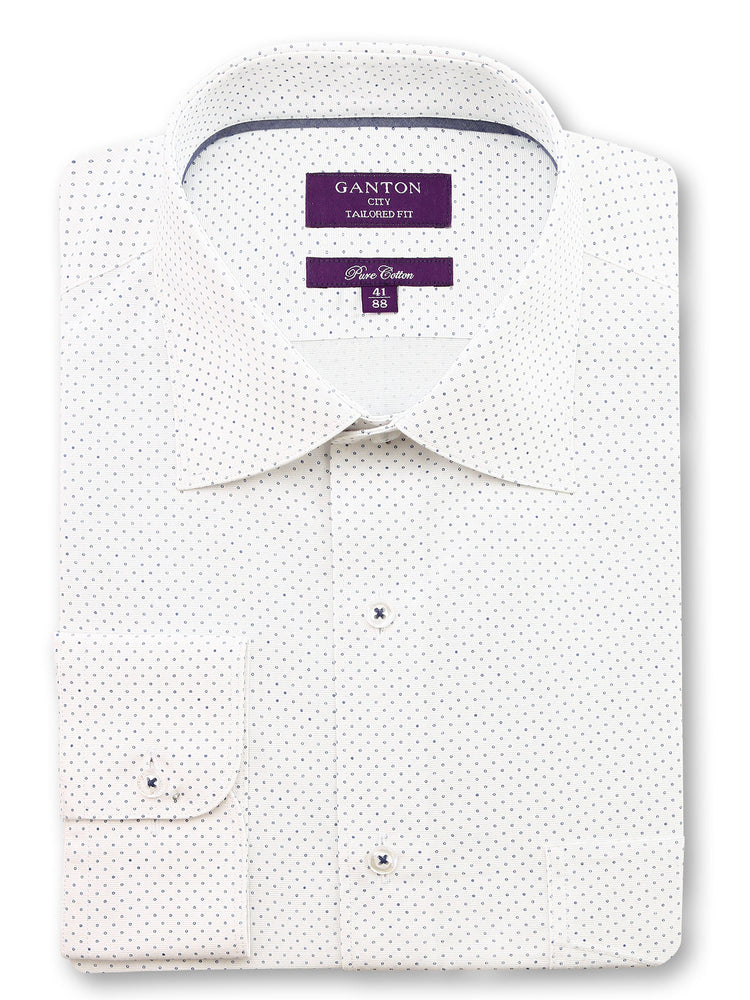 White Navy Print Tailored Fit Aidan Cotton Shirt