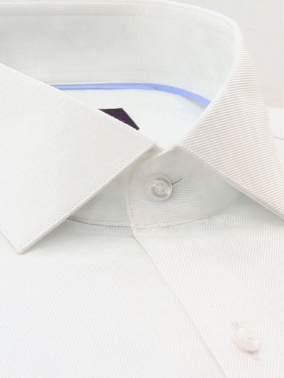 White Twill Tailored Fit Dale Luxury 2 Ply Cotton Shirt