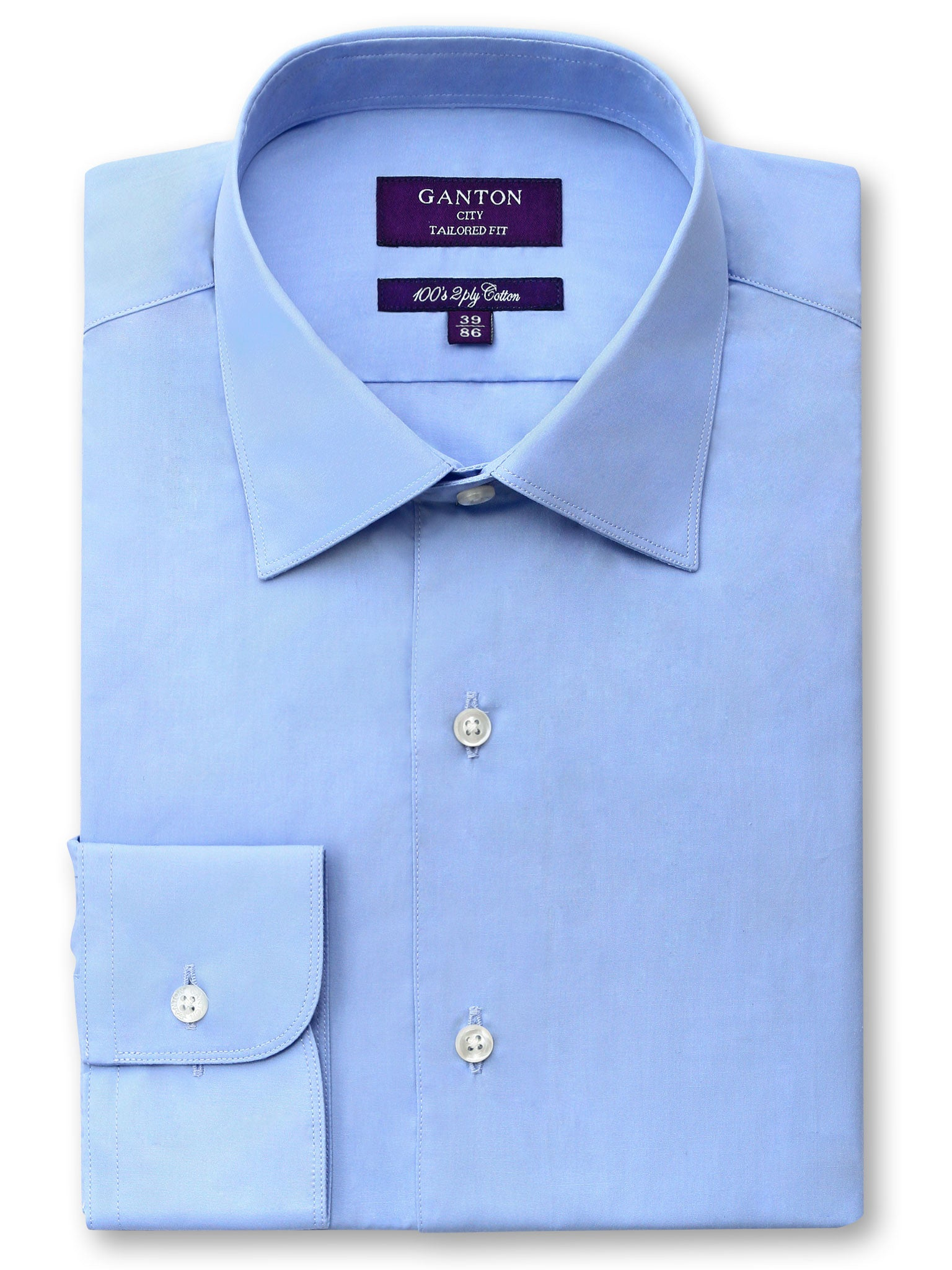 Blue Plain Tailored Fit Theodore 2 Ply Cotton Shirt