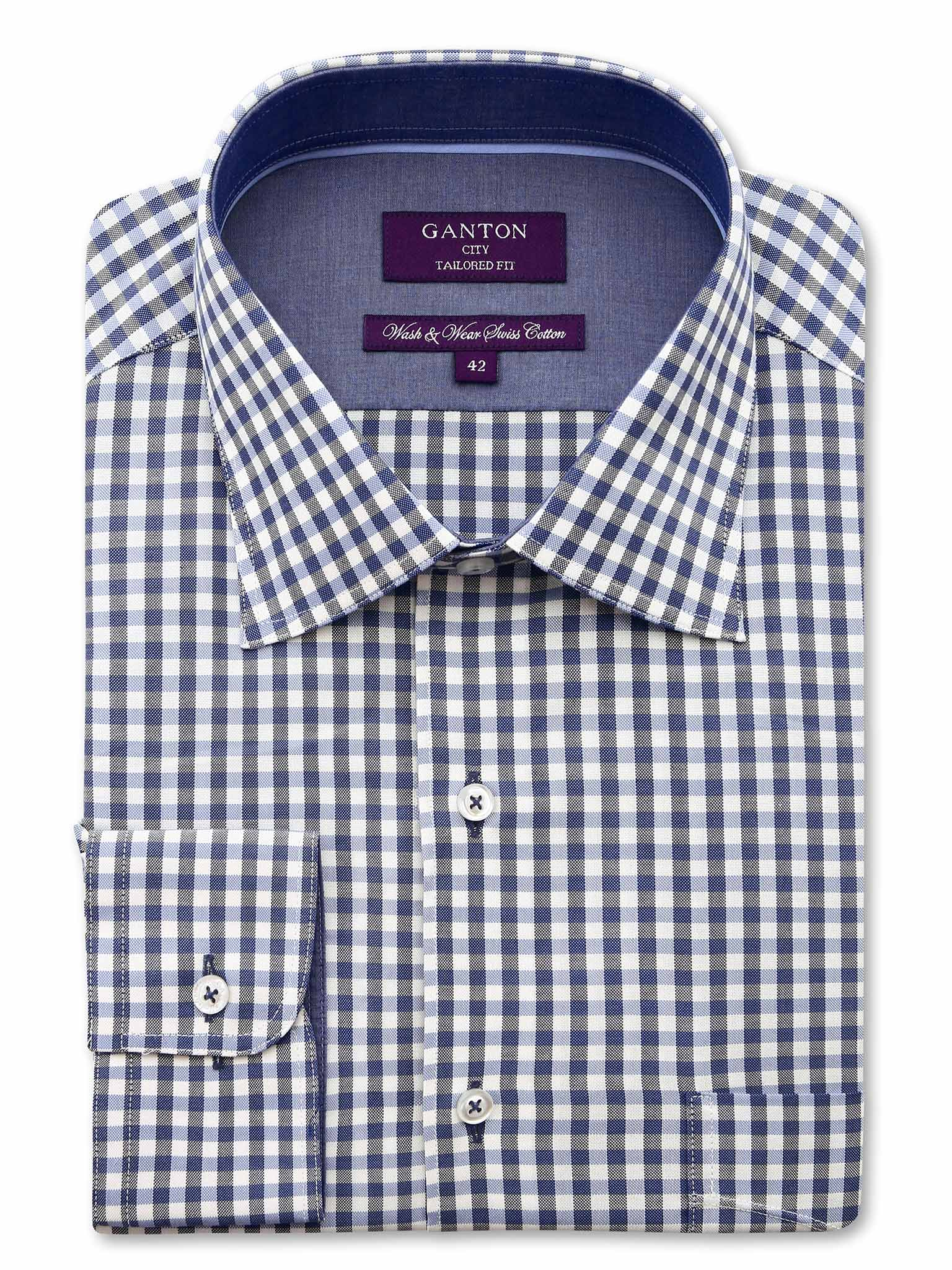 Navy Check Tailored Fit Charles Wash Wear Swiss Cotton Shirt