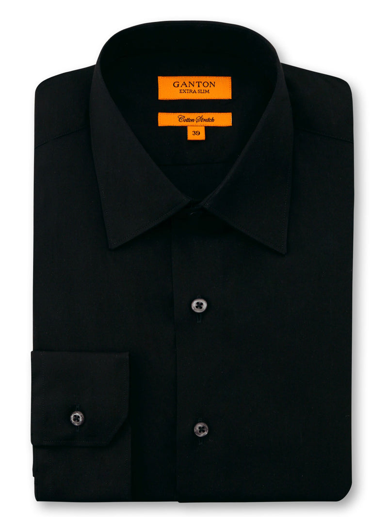 Black Plain Slim FIt Raymond Cotton Stretch Shirt