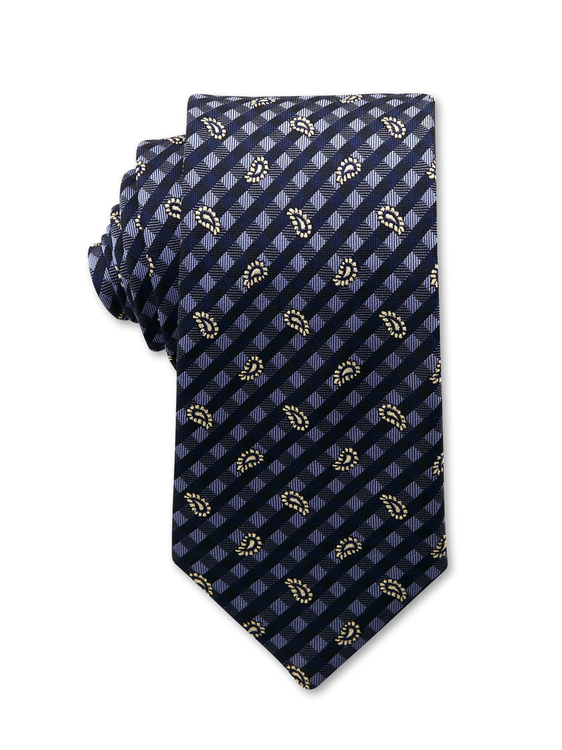 Navy Check Paisley Print 7cm Blaine Luxury Silk Tie Made in Australia