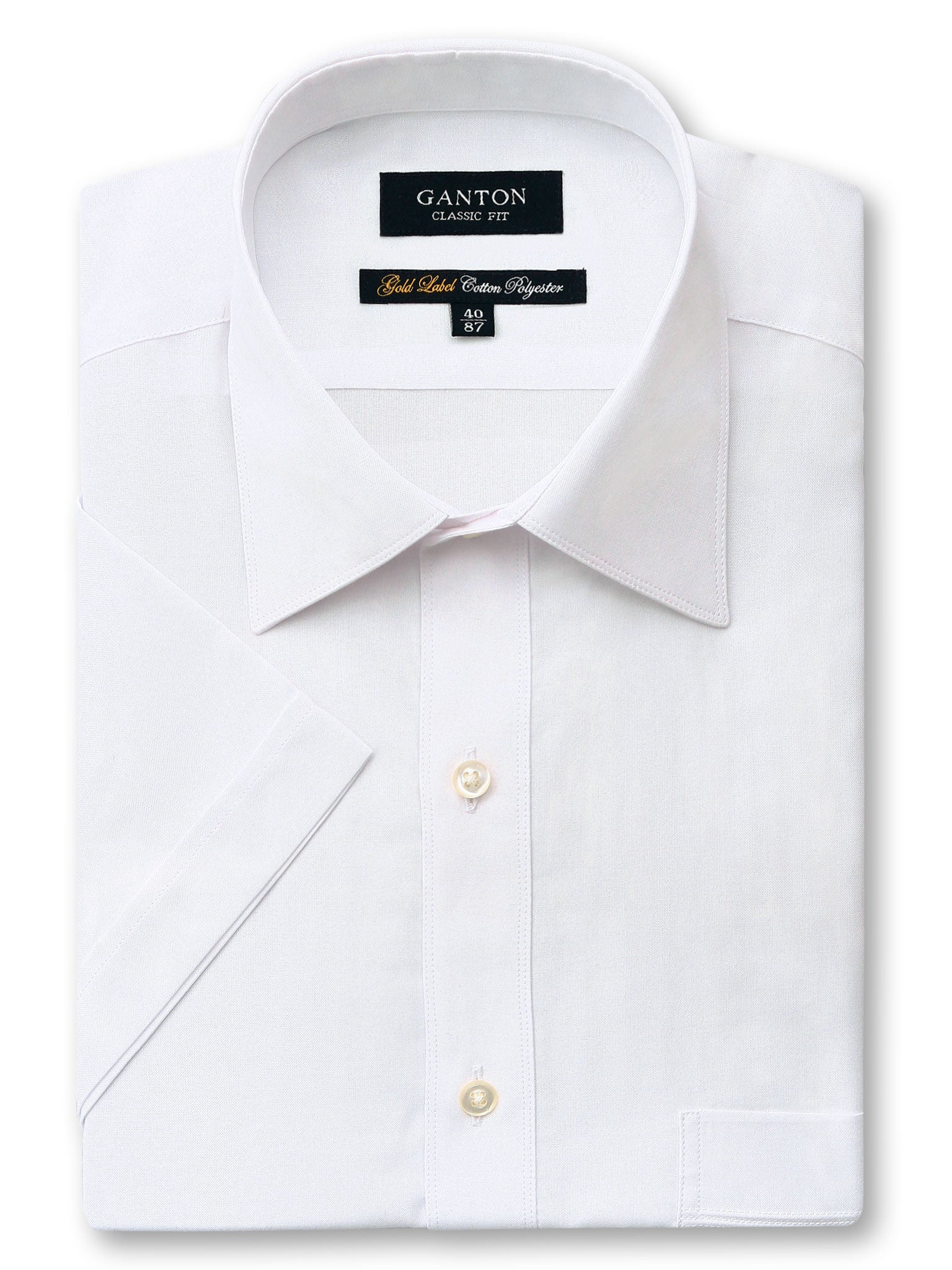 White Gold Label Classic Fit Short Sleeve Cotton Polyester Shirt