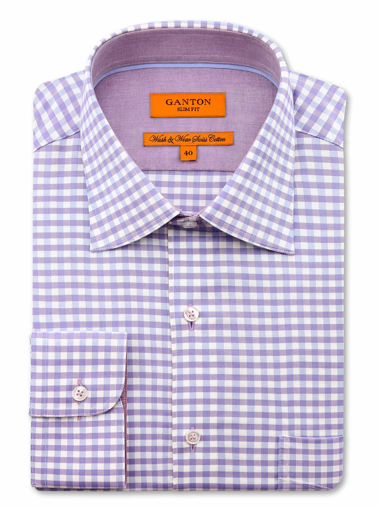 Lilac Check Slim Fit Clark Wash Wear Swiss Cotton Shirt