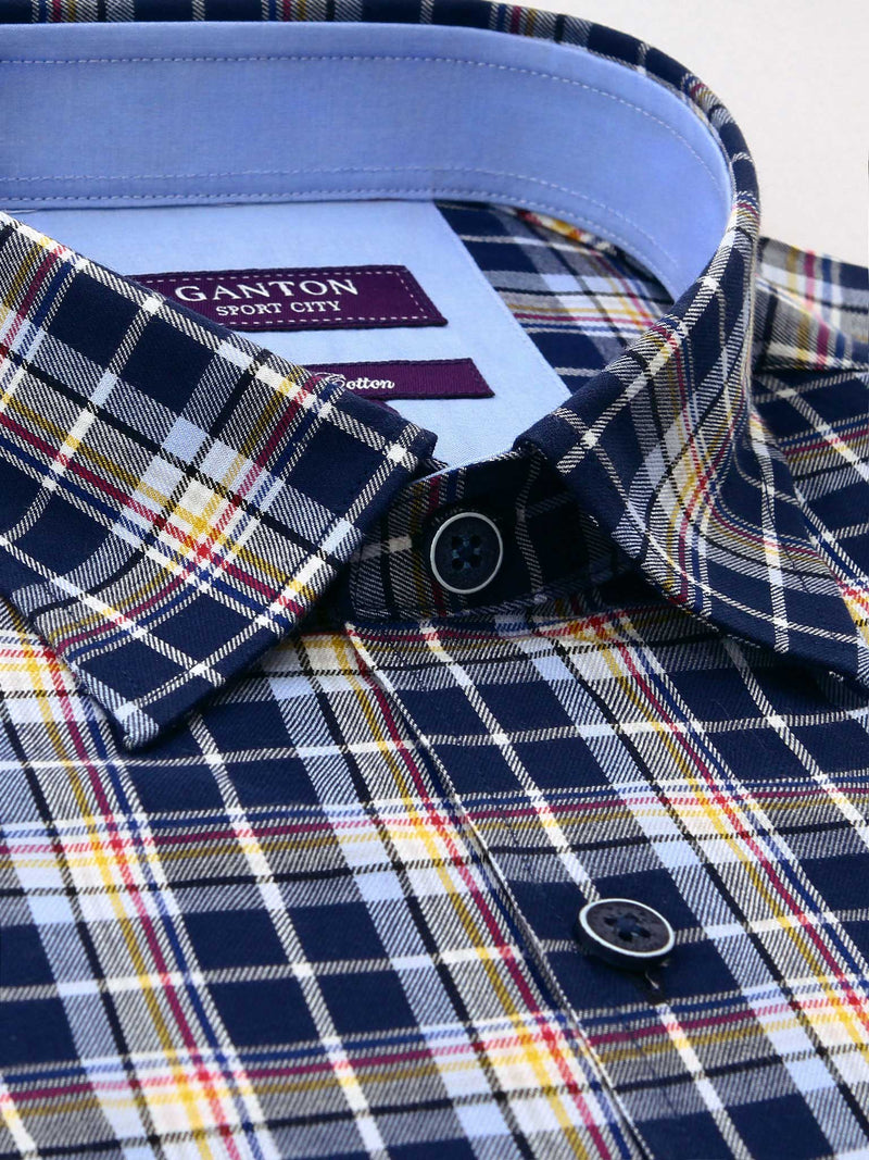 Navy Check Tailored Fit Beck Pure Cotton Shirt