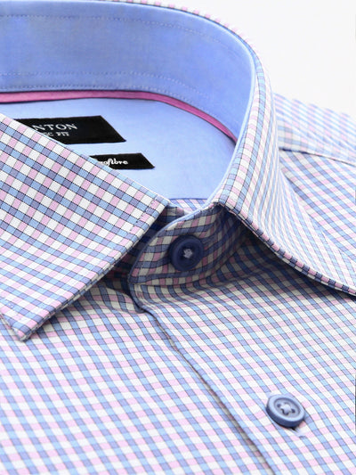 White Blue Pink Check Classic Fit Wesley Bamboo Microfibre Shirt