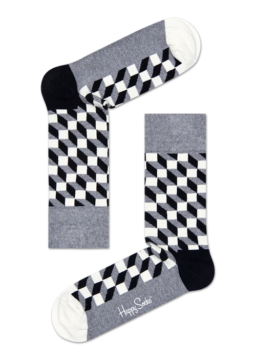 Happy Socks Filled Optic Grey