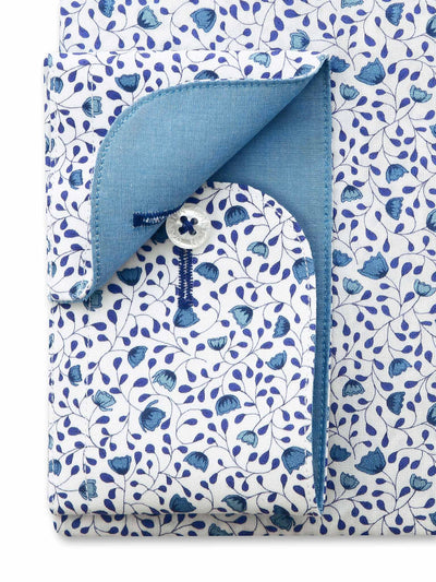 White Blue Floral Print Tailored Fit Seth Egyptian Cotton Shirt