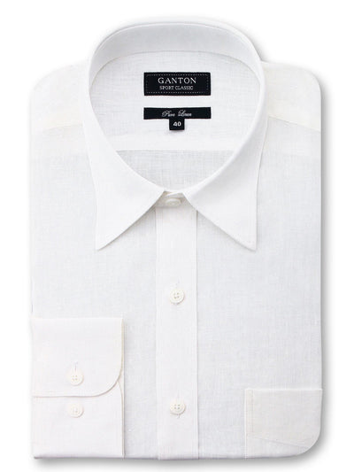 White Plain Classic Fit Usher Pure Linen Shirt