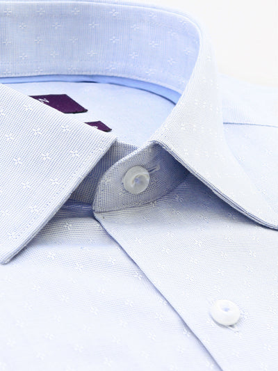 Light Blue Textured Tailored Fit Lennox Pure Cotton Shirt