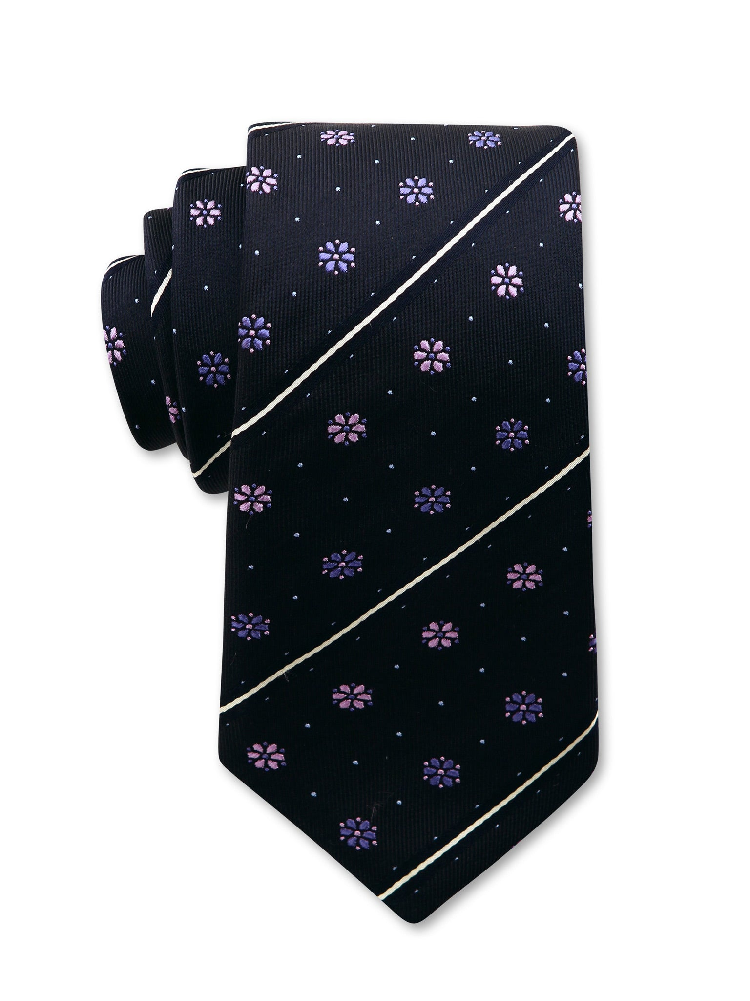 Navy Floral Spot Diagonal Stripe 7cm Kevin Luxury Silk Tie Made in Australia