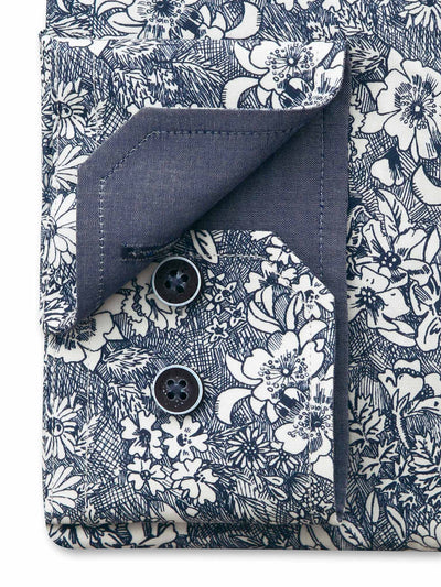 Grey White Floral Liberty Print Tailored Fit Lee Pure Cotton Shirt