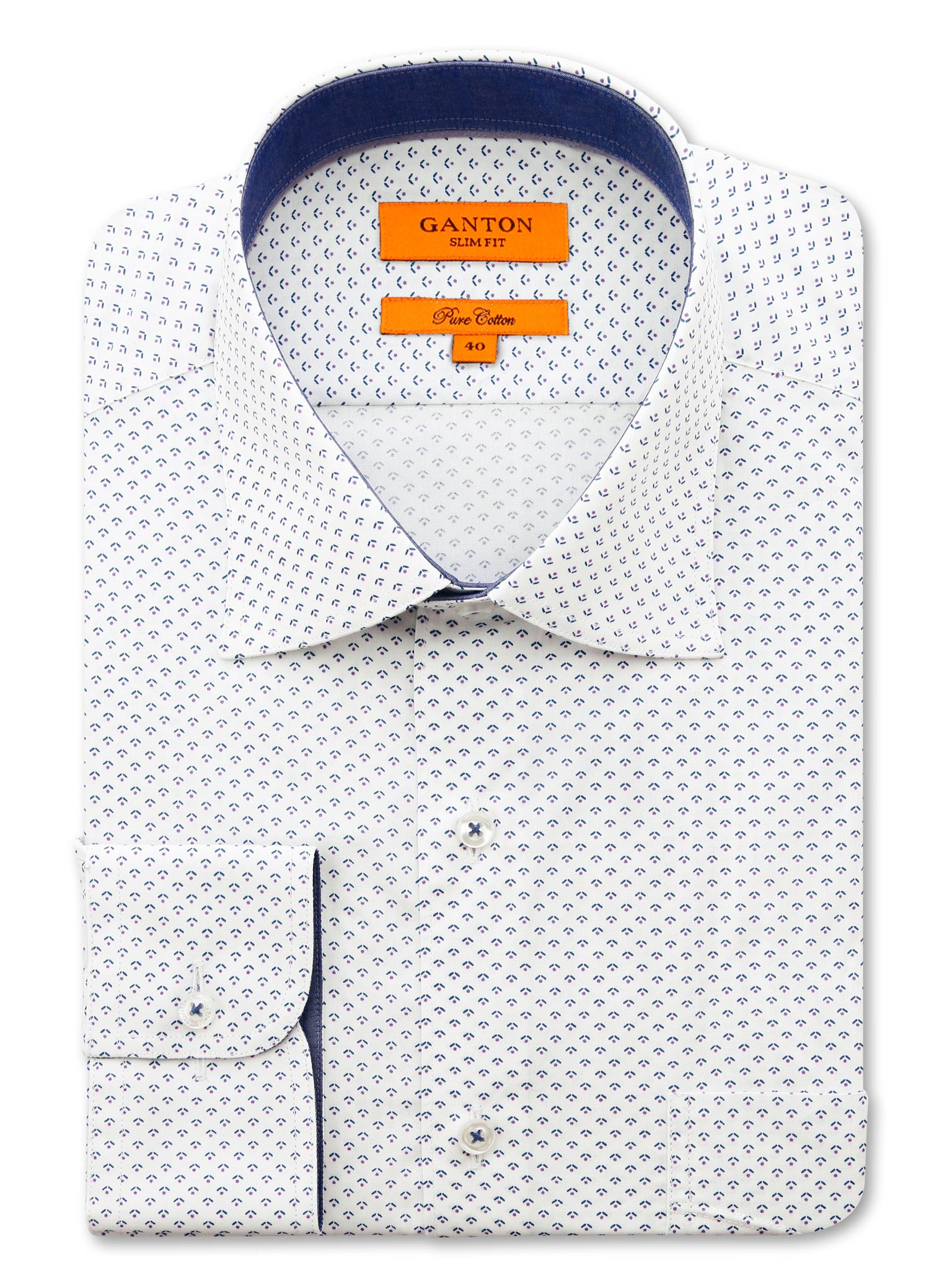 White Purple Print Slim Fit Gareth Easy Iron Pure Cotton Shirt