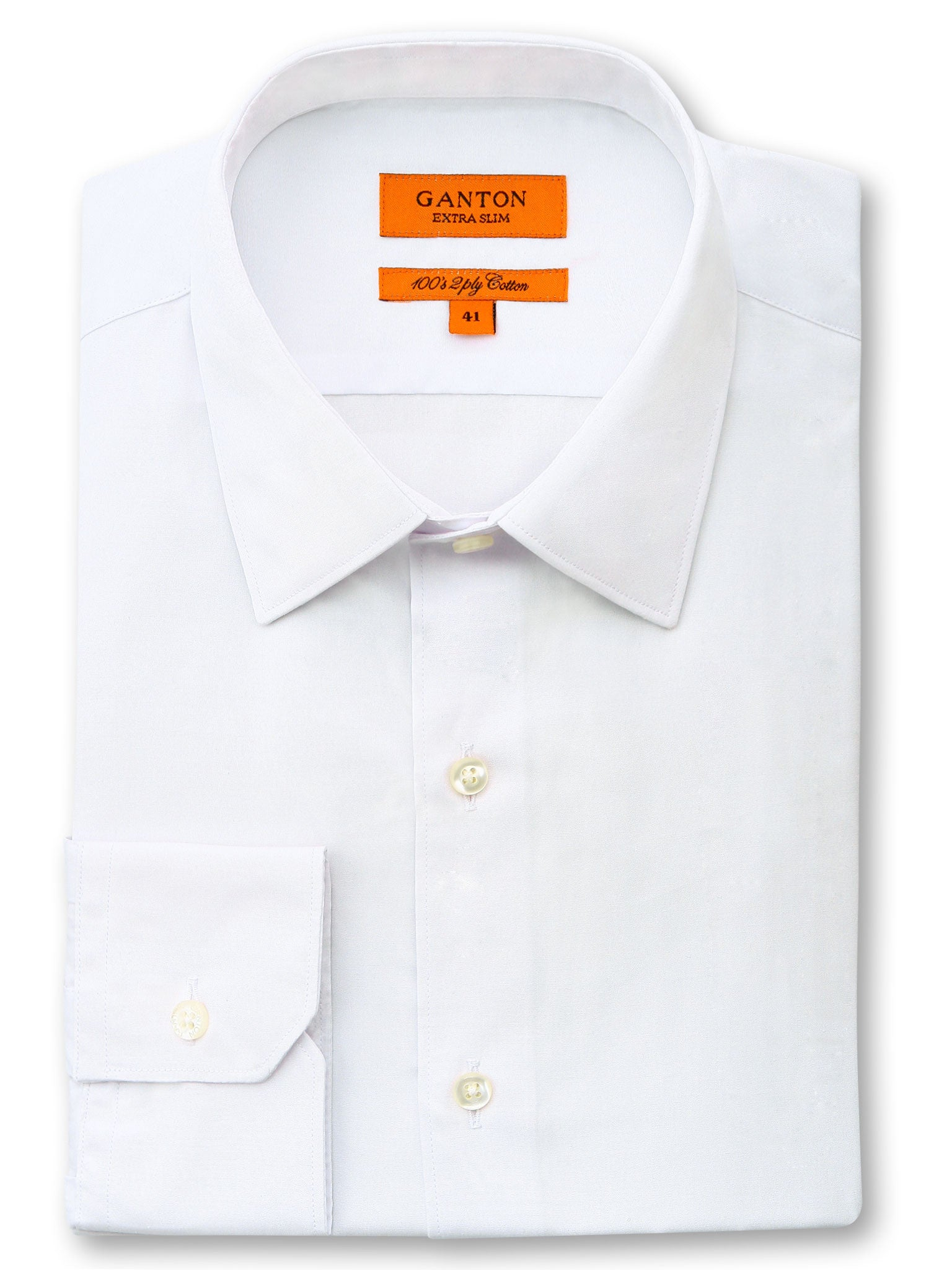 White Plain Slim Fit Ethan 2 Ply Cotton Shirt