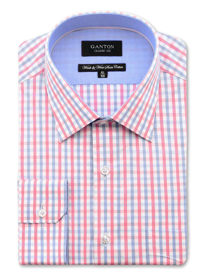 Pink Blue White Check Classic Fit Bernard Wash Wear Swiss Cotton Shirt