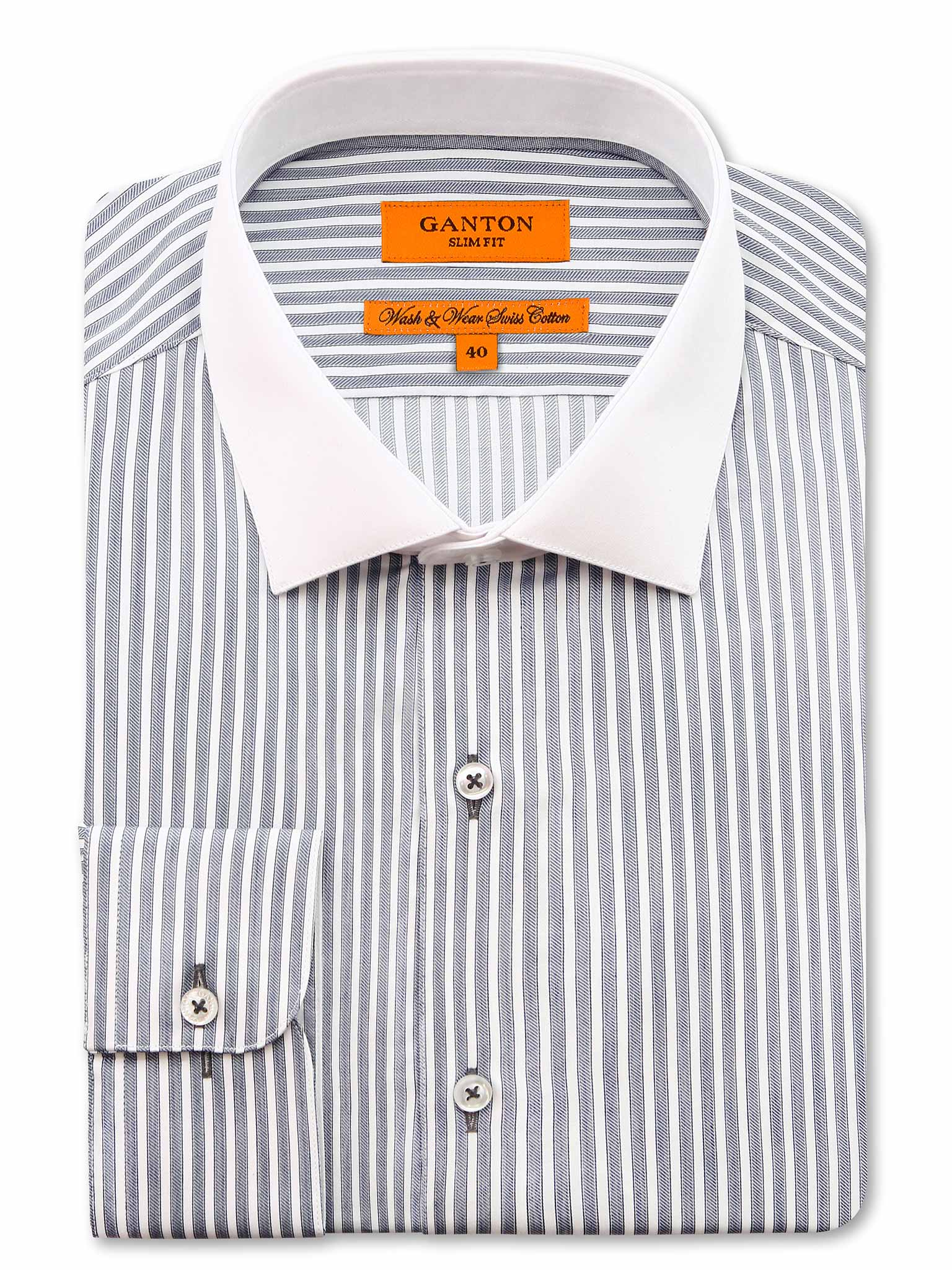 Grey White Collar Stripe Slim Fit Brooklyn Easy Iron Cotton Shirt