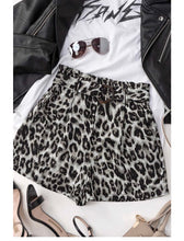 Load image into Gallery viewer, LEOPARD BUCKLE BELTED PAPERBAG SHORTS