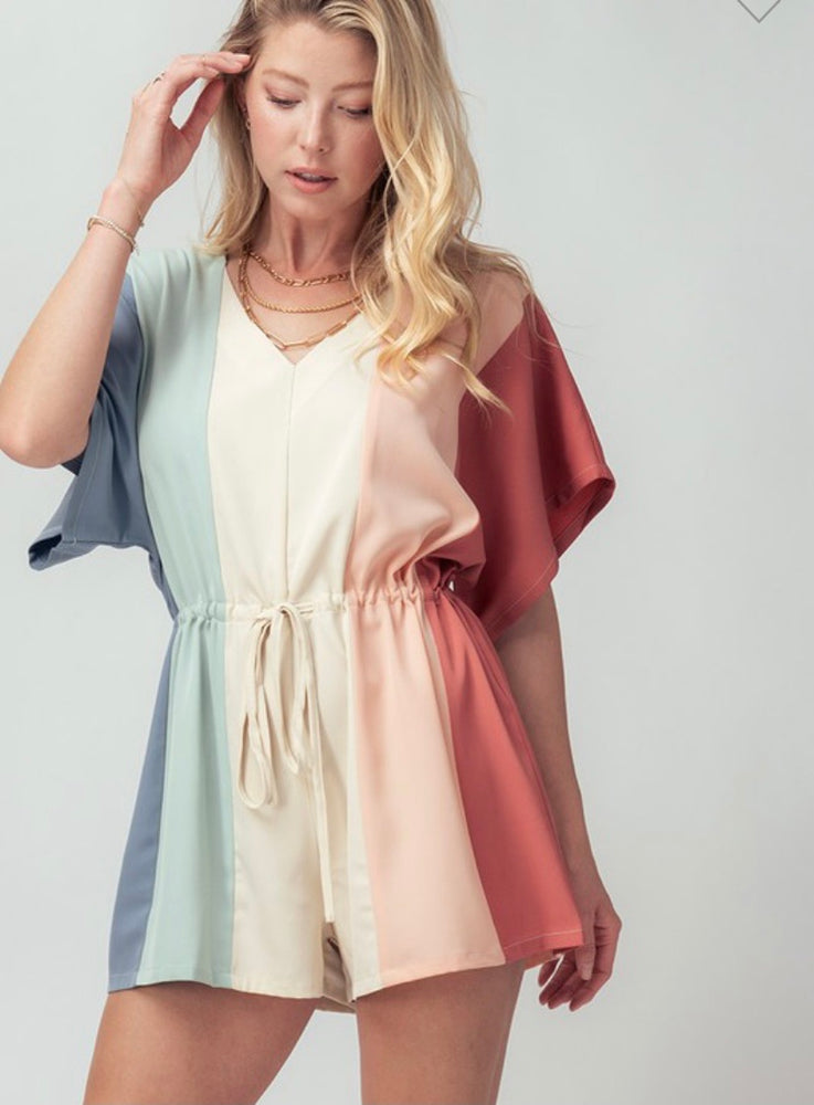 Multi Color Block V Neck Romper