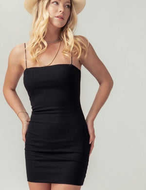 Black Rib Knit Body Con Dress