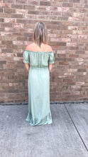 Load image into Gallery viewer, Sage Green Glaze High Low Off The Shoulder Maxi Dress