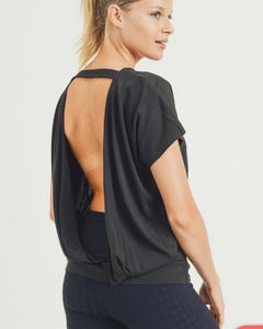 Black Open Back with Cutout Draped Back